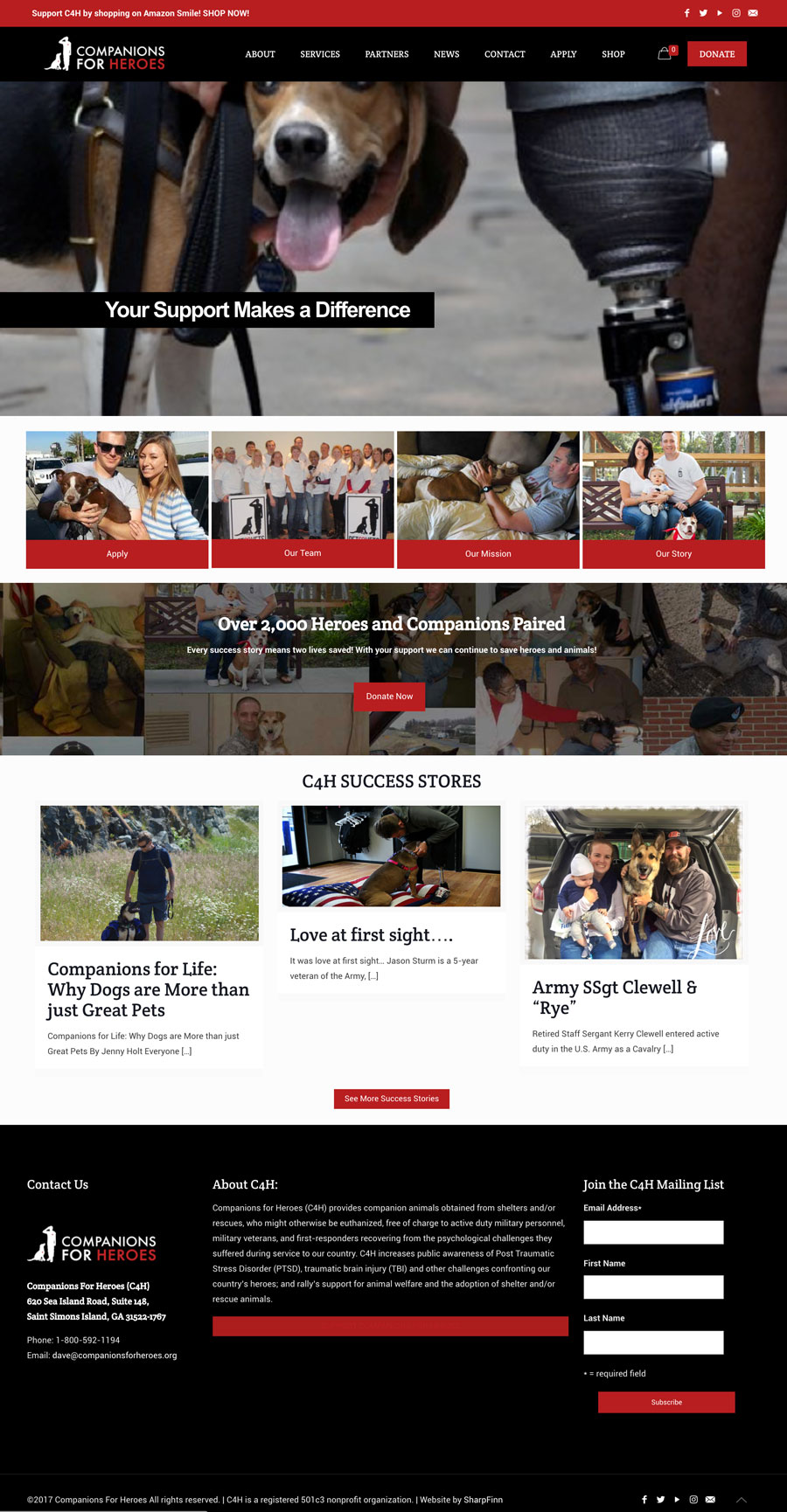Website Designed for Companions For Heroes, a non profit organization that pair Veterans with rescue animals.