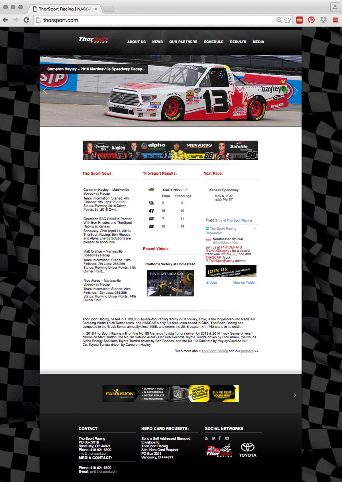 ThorSport Racing   Website Design