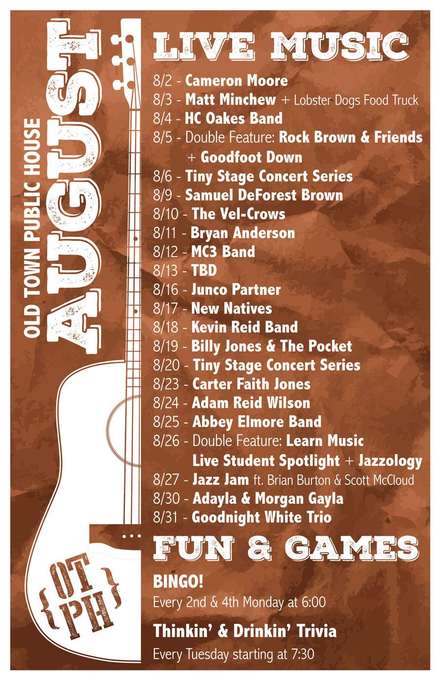 Old Town Public House August Event Calendar