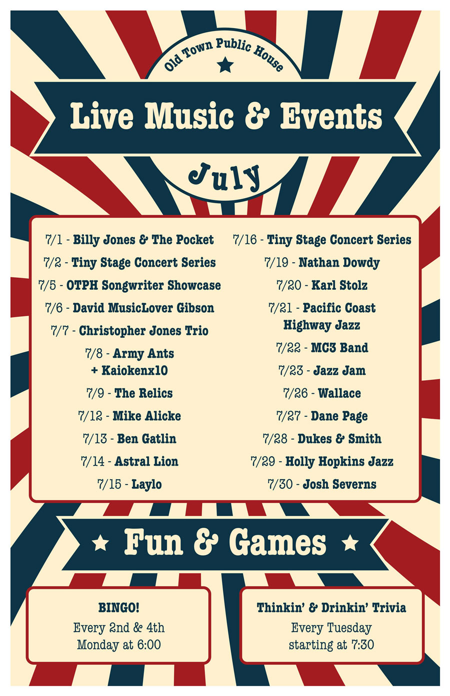 Old Town Public House July Event Calendar